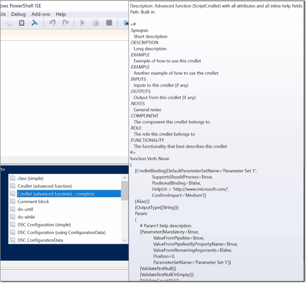 Powershell ise snippets 4sysops create an advanced function with a snippet maxwellsz
