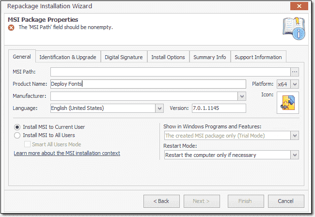 Creating a font deployment MSI for a standard user installation