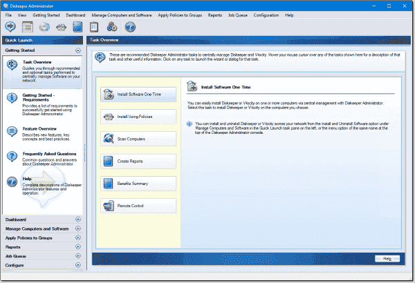 Diskeeper Administrator user interface