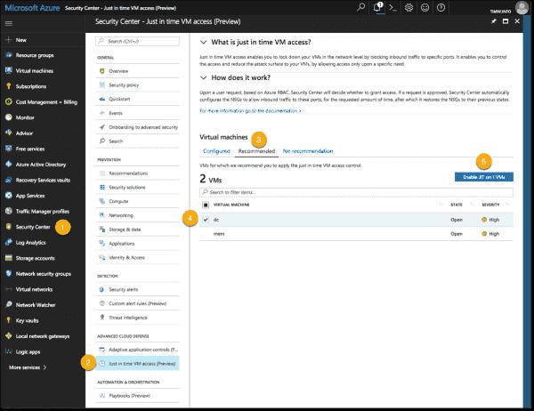 Enable JIT on Azure VMs