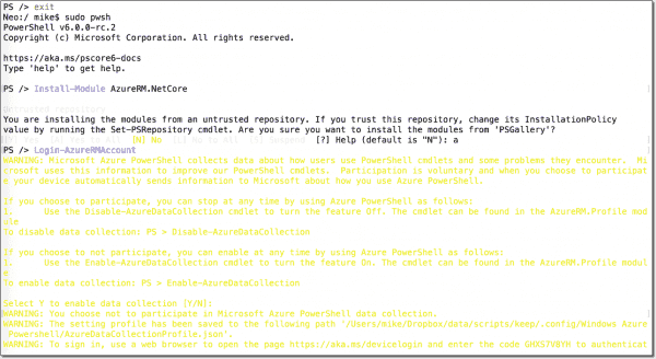 Install Azure module (AzureRM.NetCore ) on PowerShell Core