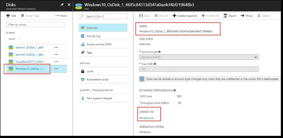 Managed Disk details