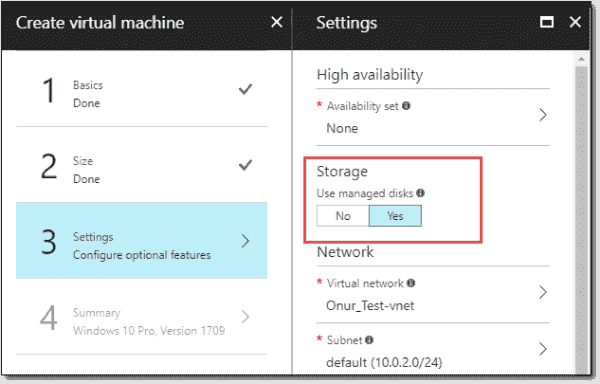 Managed disk as an option during VM deployments