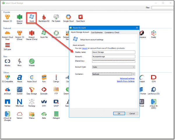 Creating a link to Azure blob storage