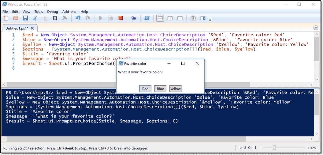 Read-Host and the ChoiceDescription class – Prompt for user input in