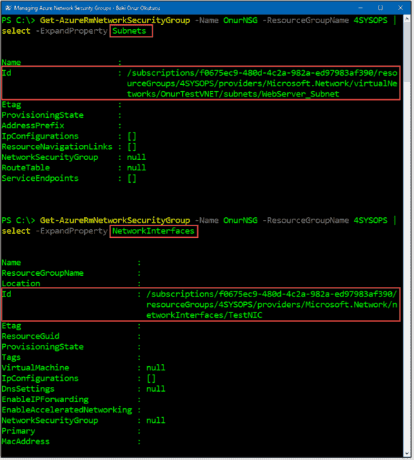 Listing subnets and interfaces associated with an NSG