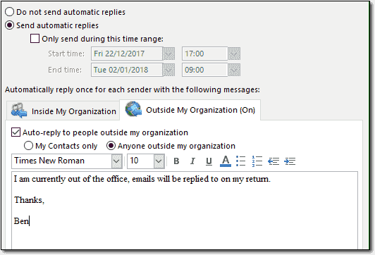 Outlook Out Of Office Settings