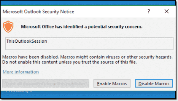 Prompt to enable macros