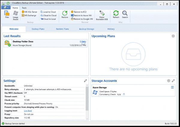 The CloudBerry Backup Welcome dashboard