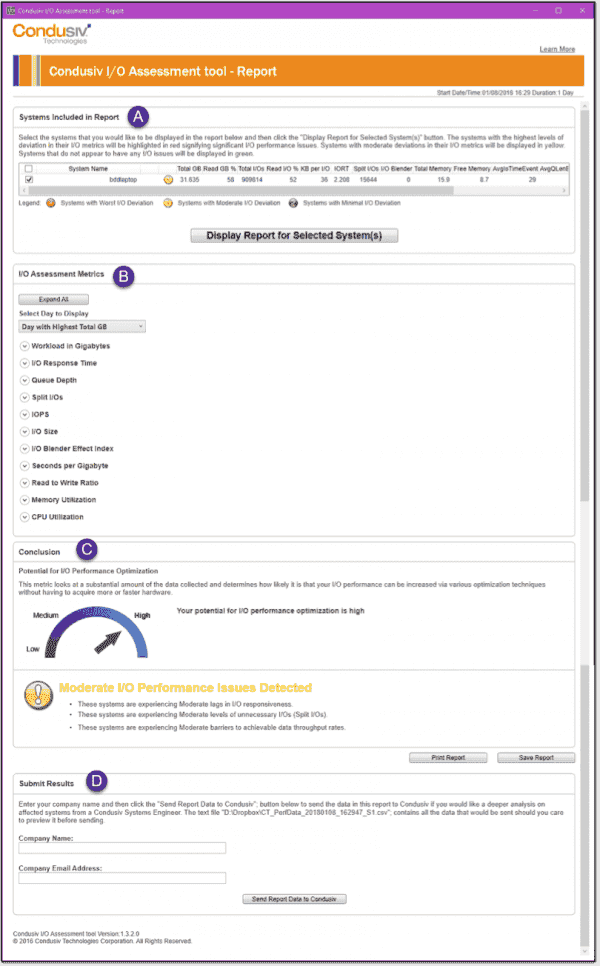 The main report interface