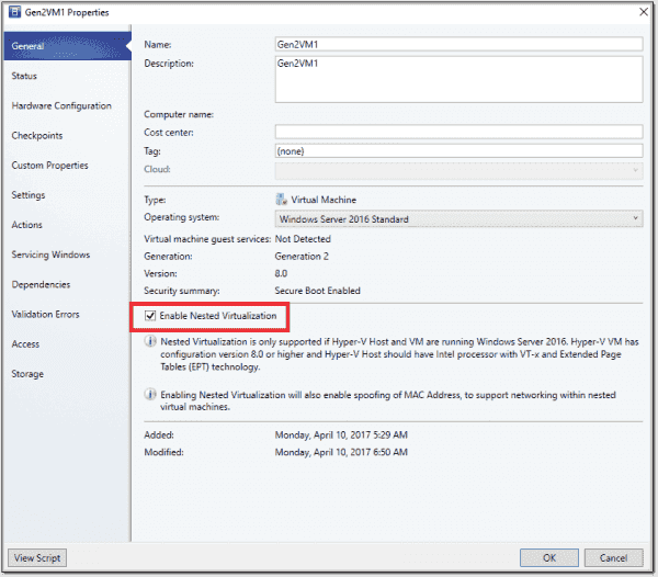 Enable nested virtualization in VMM 1711