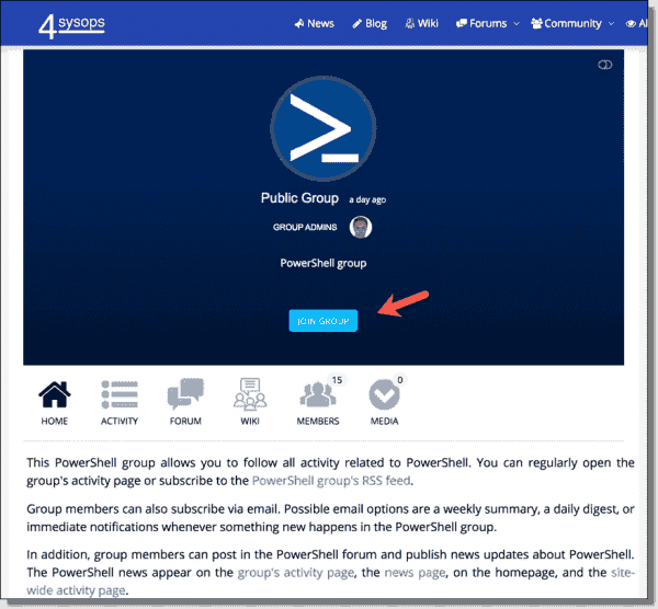 Join the 4sysops PowerShell group
