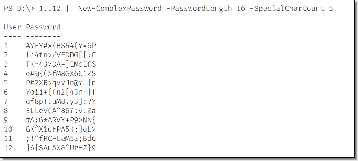 Generate complex passwords with PowerShell – 4sysops