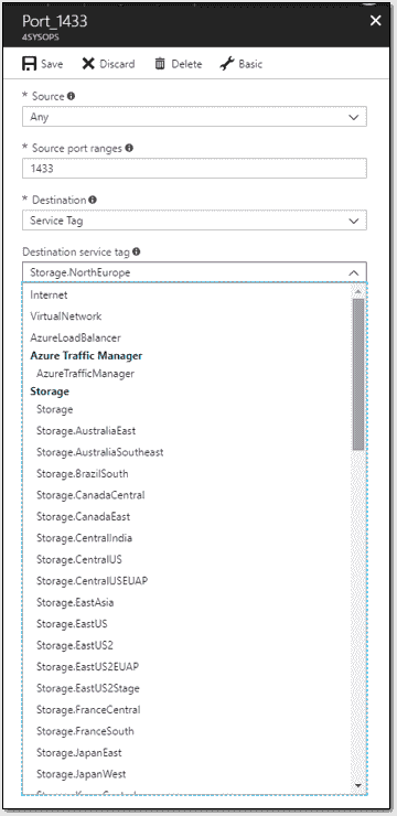 Service tags and augmented security rules in Azure network security