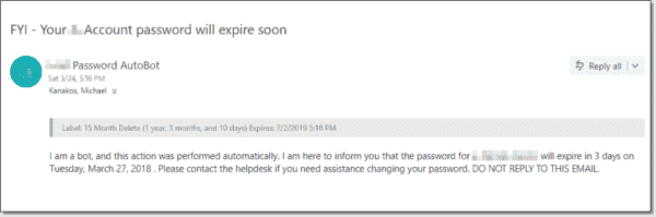 A password expiration email notification