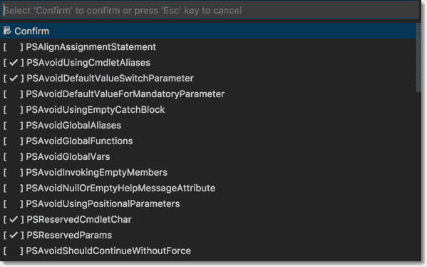 Changing PSScriptAnalyzer rules in VSCode