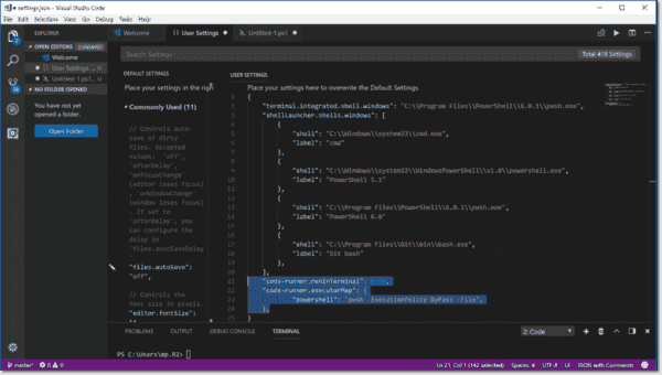 Configuring Code Runner to execute in the Terminal