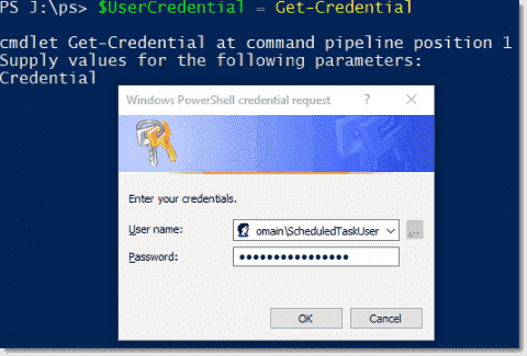 Scheduling PowerShell scripts with usernames and encrypted password