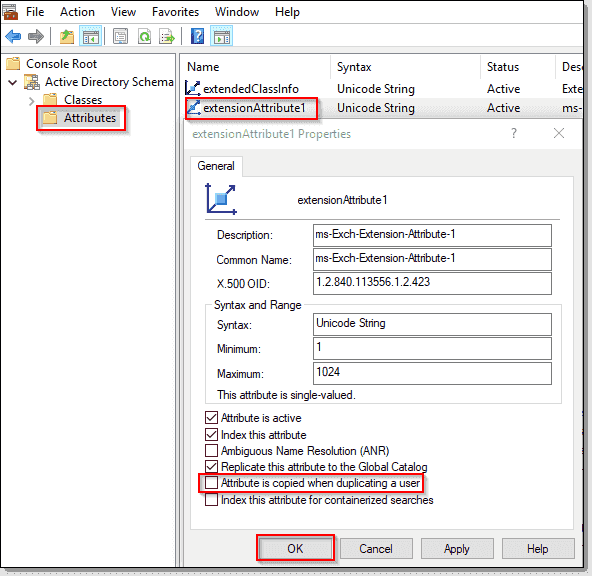 Deselect the Attribute is copied when duplicating a user checkbox