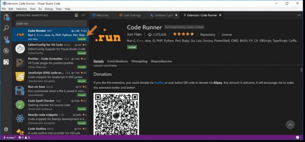 Installing Code Runner for VSCode