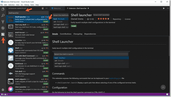 Installing Shell Launcher from the VSCode marketplace