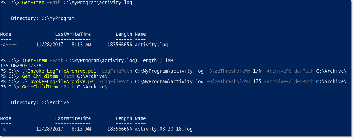 How to create a log-archiving script in PowerShell