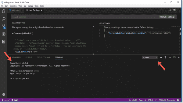 PowerShell 6.0.1 in VSCode