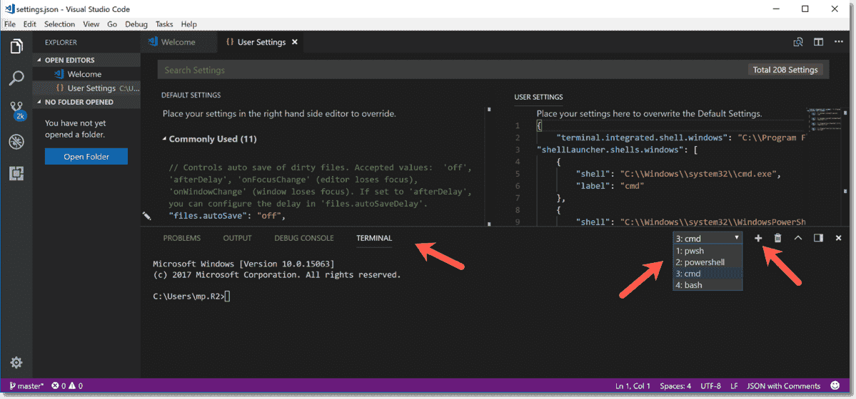 VSCode as a console for PowerShell Core 6 - Use Multiple shells