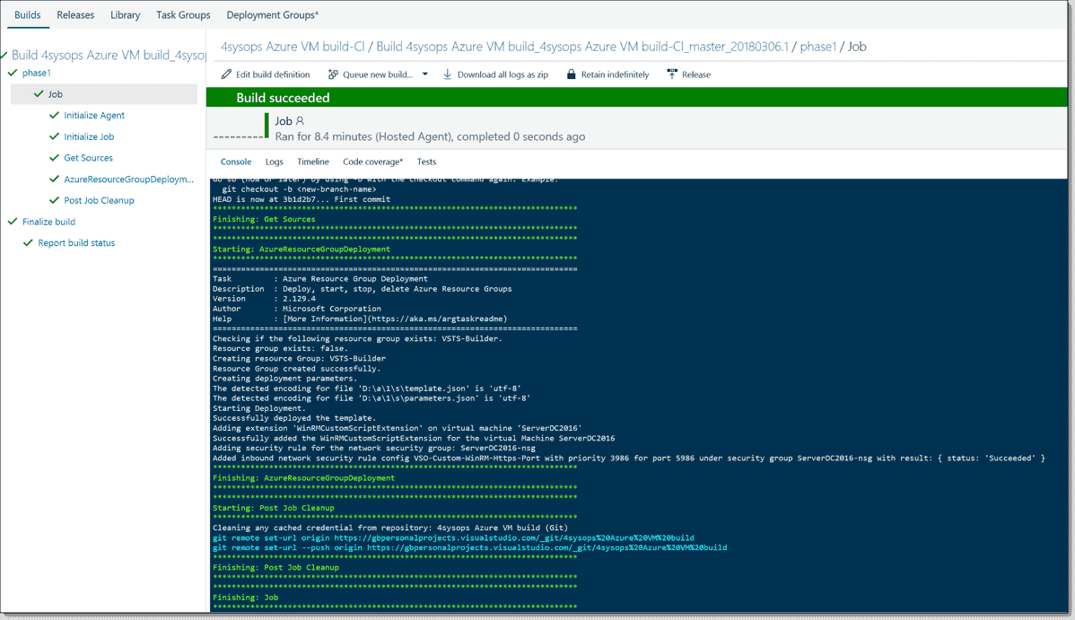 Using VSCode with VSTS and YAML to build an Azure VM – Part