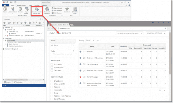 Web viewer for reporting execution results
