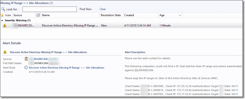 Alert view showing Missing IP Range Site Allocations