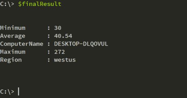 Final region latency results