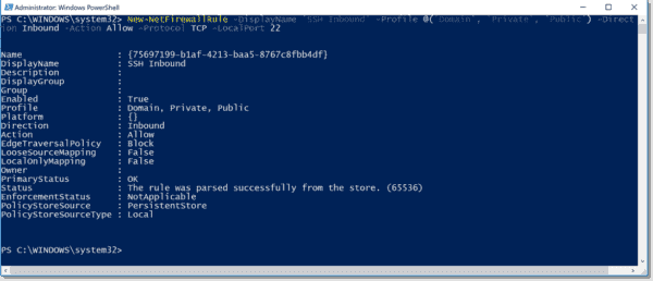 Opening the SSH port in the Windows Firewall