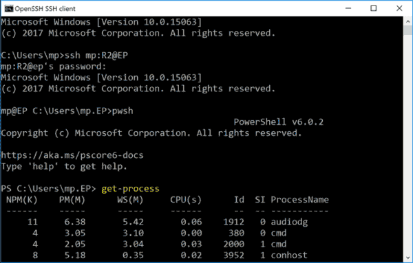 Using a SSH client for PowerShell remoting