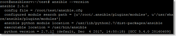 Checking the Ansible version after installation