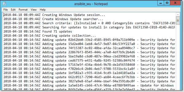 Log file containing the missing Windows updates Ansible found