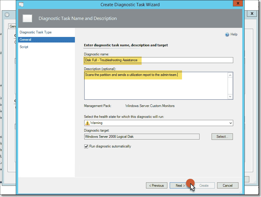 """Send disk usage reports on """"disk full"""" alerts in SCOM – 4sysops"""
