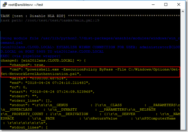 Running a PowerShell script with the Ansible win command module