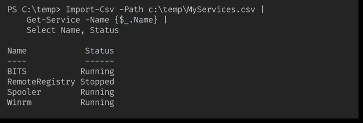 Scriptblock parameter passing service names through the pipeline