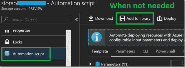 Add automation scripts to the library when the resource is not needed