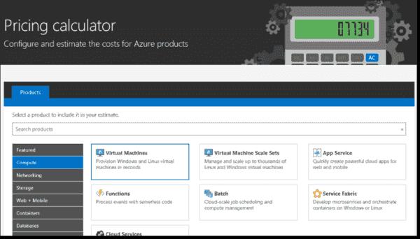 Azure calculator