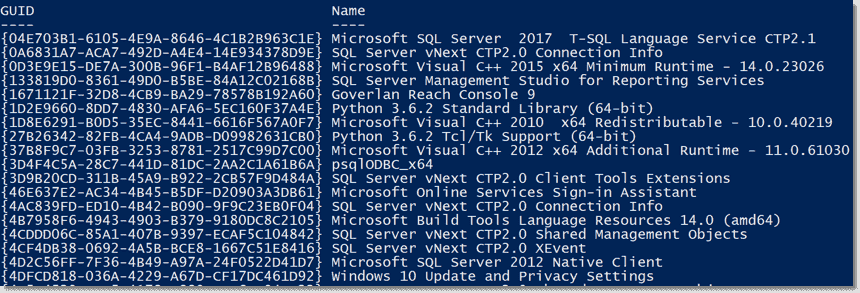 Find the product GUID of installed software with PowerShell – 4sysops