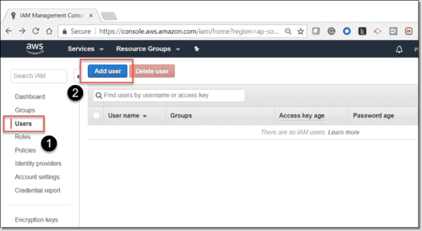 Create a new user in the AWS IAM console