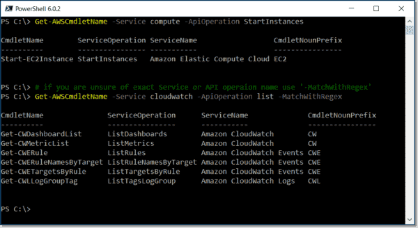 Discovering cmdlets in AWS Tools