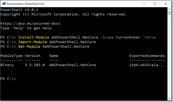 Installing and importing AWS Tools for PowerShell