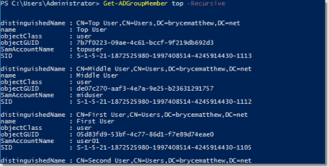 Read nested Active Directory groups in PowerShell