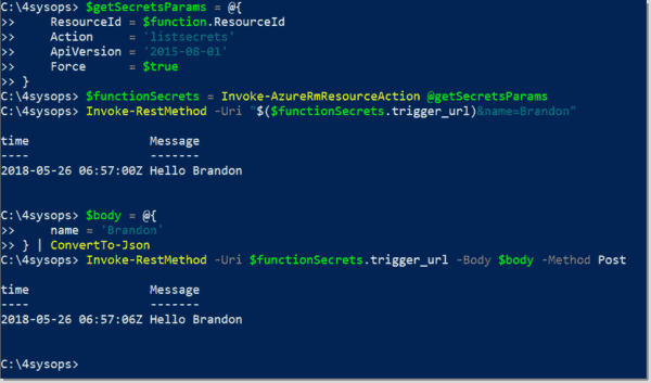 Test the Azure function
