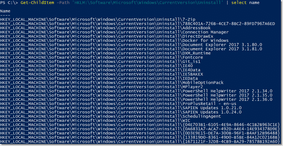 Find the product GUID of installed software with PowerShell