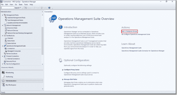 Add a SCOM agent or a group of agents to monitor via OMS