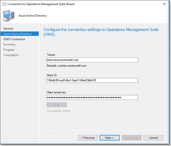 Configure the connection settings to Operations Management Suite (OMS)